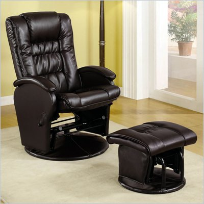 Coaster Leather Like Glider Chair with Matching Ottoman in Brown