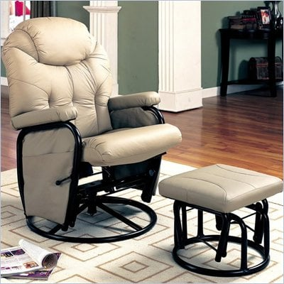 Coaster Leatherette Gliding Recliner Chair with Ottoman in Bone