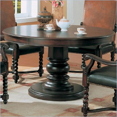 "Coaster Riverside 54"" Round Semi-Formal Dining Table in Dark Wood Finish"