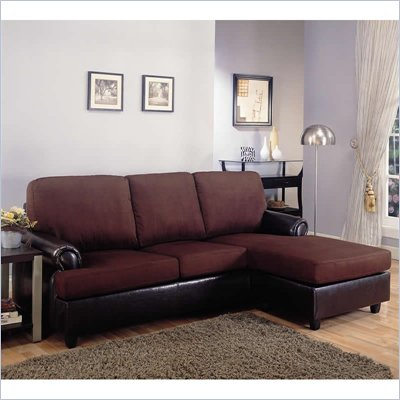 Coaster Rupard Sectional with Chaise in Microfiber and Vinyl