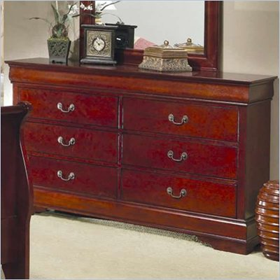Coaster Saint Laurent 6 Drawer Double Dresser in Cherry Finish