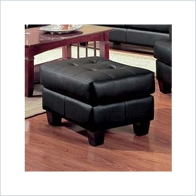 Coaster Samuel Black Contemporary Leather Ottoman