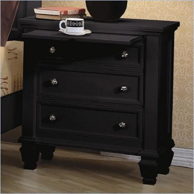 Coaster Sandy Beach Night Stand with 3 Drawers in Black finish