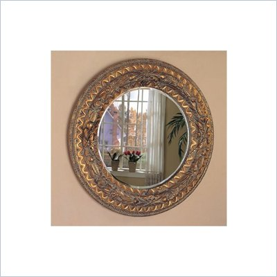 Coaster Bevelled Round Mirror in Dark Bronze