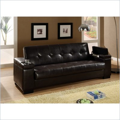 Coaster Convertible Sofa Sleeper with Storage in Plush Dark Brown Faux Leather