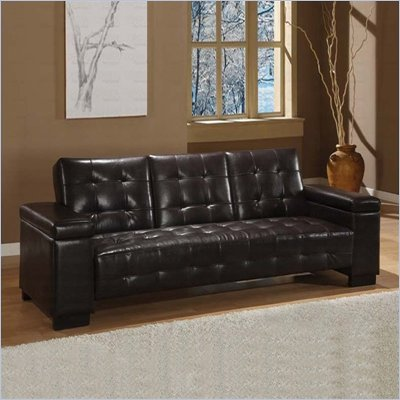 Coaster Sofa Bed with Drop Down Console and Storage in Dark Brown Vinyl