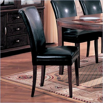 Coaster Soho Black Bycast Fabric Parson Chair in Black and Cherry
