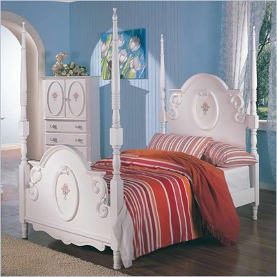 Coaster Sophie Poster Bed in White Finish