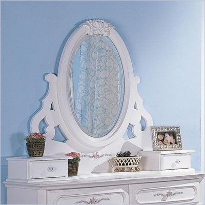 Coaster Sophie Oval Mirror with 2 Drawers in White Finish