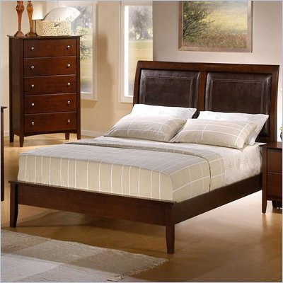 Coaster Tamara Faux Leather Upholstered Platform Bed in Walnut Finish