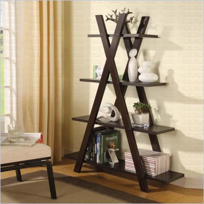 Coaster  Tiered X Shaped Bookcase in Cappuccino