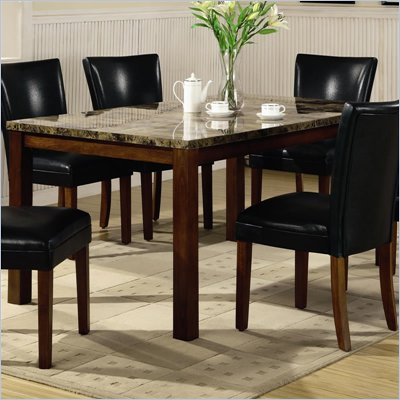 Coaster Telegraph Rectangular Dining Table with Faux Marble Top in Medium Brown