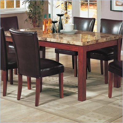 Coaster Telegraph Rectangular Marble Top Dining Table in Medium Brown