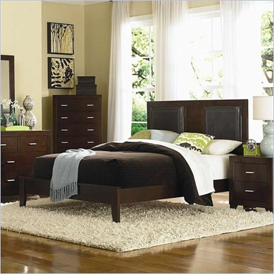 Coaster Tiffany Upholstered Platform Bed in Deep Brown Finish