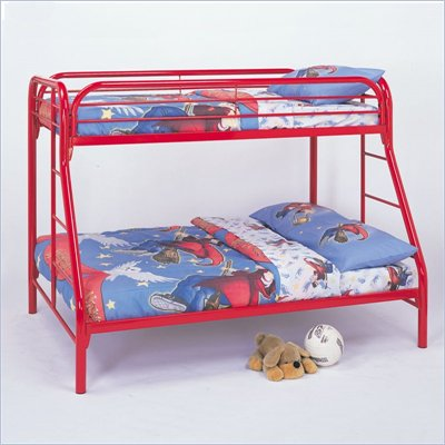 Coaster Tracey Twin over Full Metal Bunk Bed in Red Finish