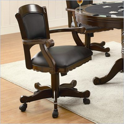 Coaster Turk Arm Game Chair with Casters in Medium Oak