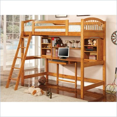 Coaster Twin Wood Loft Bunk Bed with Workstation in Natural Finish