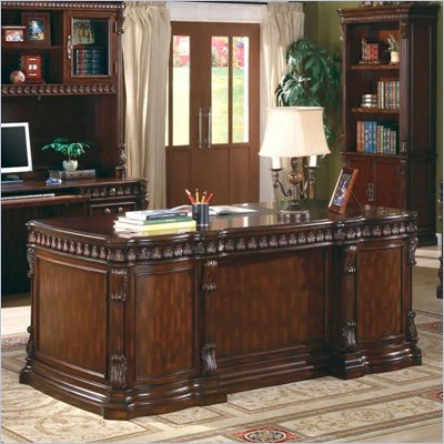Coaster Union Hill Double Pedestal Desk w/ Leather Insert Top in Brown