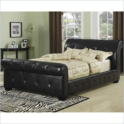 Coaster Queen Tufted Faux Leather Upholstered Sleigh Bed in Black