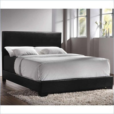 Coaster Queen Faux Leather Upholstered Bed in Black