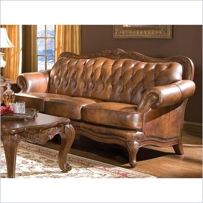 Coaster Furniture Classic Tri-tone Brown Leather Sofa