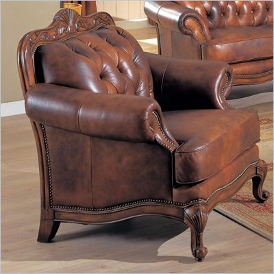 Coaster Furniture Classic Tri-tone Brown Leather Chair