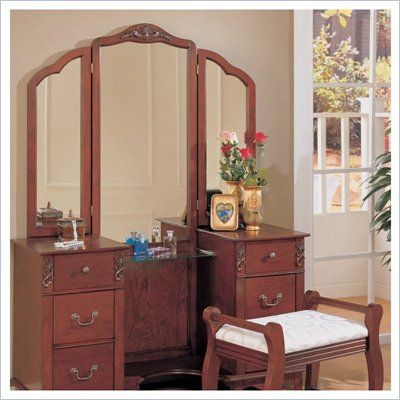 Coaster Traditional Wood Makeup Vanity Table Set with Mirror
