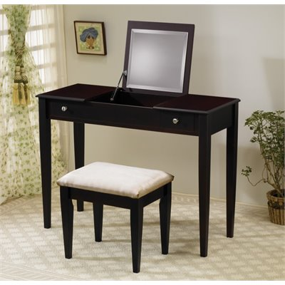 Coaster Wood Two Drawer Makeup Vanity Table Set with Mirror in Dark Brown