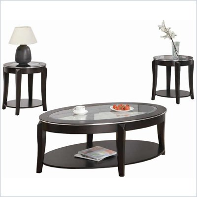Coaster Wacker Contemporary 3 Piece Occasional Table Set in Cappuccino