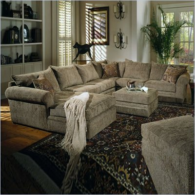 Coaster Westwood Hardwood Chenille Pillow Top Sectional Sofa in Olive Green