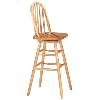 "Coaster Woodlawn 29"" Swivel Windsor Bar Stool in Light Natural"