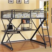 Powell Furniture Z-Bedroom Full Size Study Metal Loft Bunk Bed in Powder-Coat Black Finish