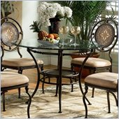 Powell Furniture Basil Glass Top Casual Dining Table in Antique Brown Finish
