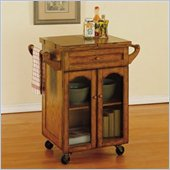 Powell Furniture Noble Oak Butcher Block Kitchen Cart