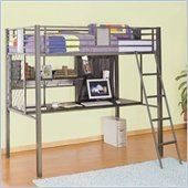 Powell Furniture Monster Bedroom Twin Study Metal Loft Bunk Bed In Grey Finish
