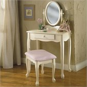 Powell Furniture Off-White Girl's Wood Makeup Vanity Table with Mirror and Bench Set