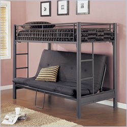 Powell Furniture Textured Twin Over Futon Metal Bunk Bed Frame in Matte Black Finish