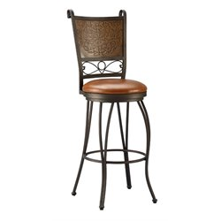 Powell Furniture Bronze with Muted Copper Stamped Back Bar Stool