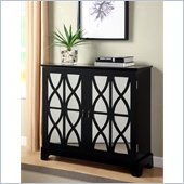 Powell Furniture Console with Mirrored Glass Doors in Black 