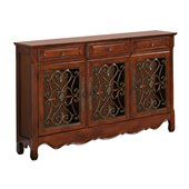 Powell Furniture 3-Door Scroll Console in Walnut 