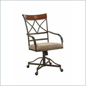 Powell Furniture Hamilton Dining Chair on Casters in Medium Cherry