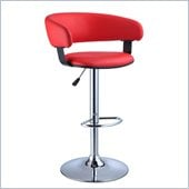 Powell Adjustable Height Bar Stool in Red and Chrome
