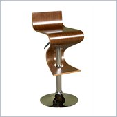 Powell Adjustable Bar Stool in Walnut and Chrome