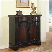 Powell Fluted Pilaster Door Cabinet in Black & Cherry