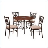 Powell Presley Dining Table in Copper metal and Cherry Wood