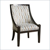 Powell High Back Accent Chair in Brown and Blue with Black Wood