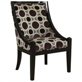 Powell High Back Accent Chair in Mulberry and Grey with Black Wood