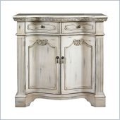 Powell Mansion Fluted Pilaster Cabinet in Aged White