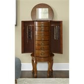 Powell Jewelry Armoire in Burnished Oak