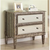 Powell 2-Drawer Mirrored Console in Antique Silver and Black